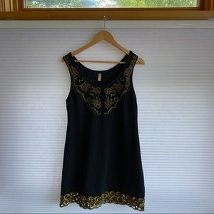 Free people black dress stretch with gold trim 10